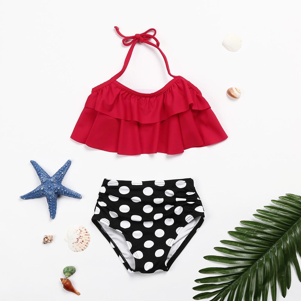 Двухкусочный малышей ребёнков оборками Dot Bikini Set высокой талией бикини Купальники 2018 Купальники Нижнее купальник MA31