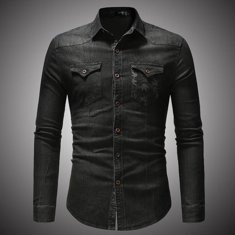 Autumn causal denim shirts men long sleeve denim shirt T-shirt denim tops