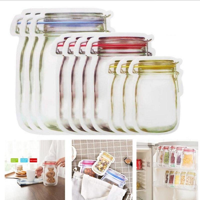 Wiederverwendbare Mason Jar Zipper Taschen Wiederverwendbare Snack Saver Bag Leakproof Food Sandwich Aufbewahrungstaschen Kühlschrank Einfrieren Aufbewahrungstasche