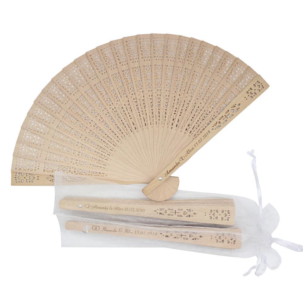 50 unids personalizado grabado madera plegable ventilador de mano plegado fans personalizado boda fiesta regalo decoración favores organza bolsa