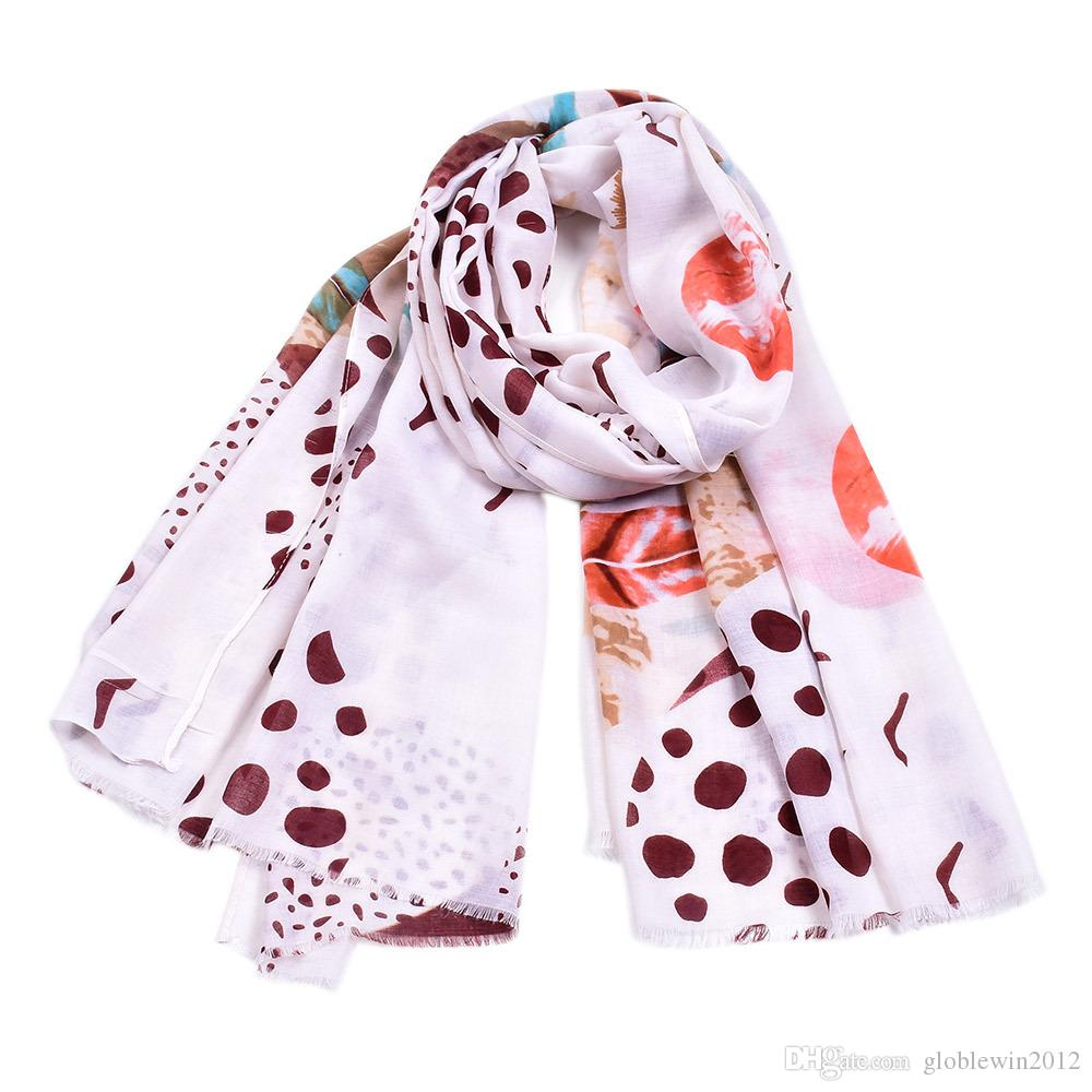 Women New Cotton Feather Print Scarves Shawls 2019 Long Dot Fringe Wrap Scarf Hijab Foulard 6 Color Hot Sale Free Shipping