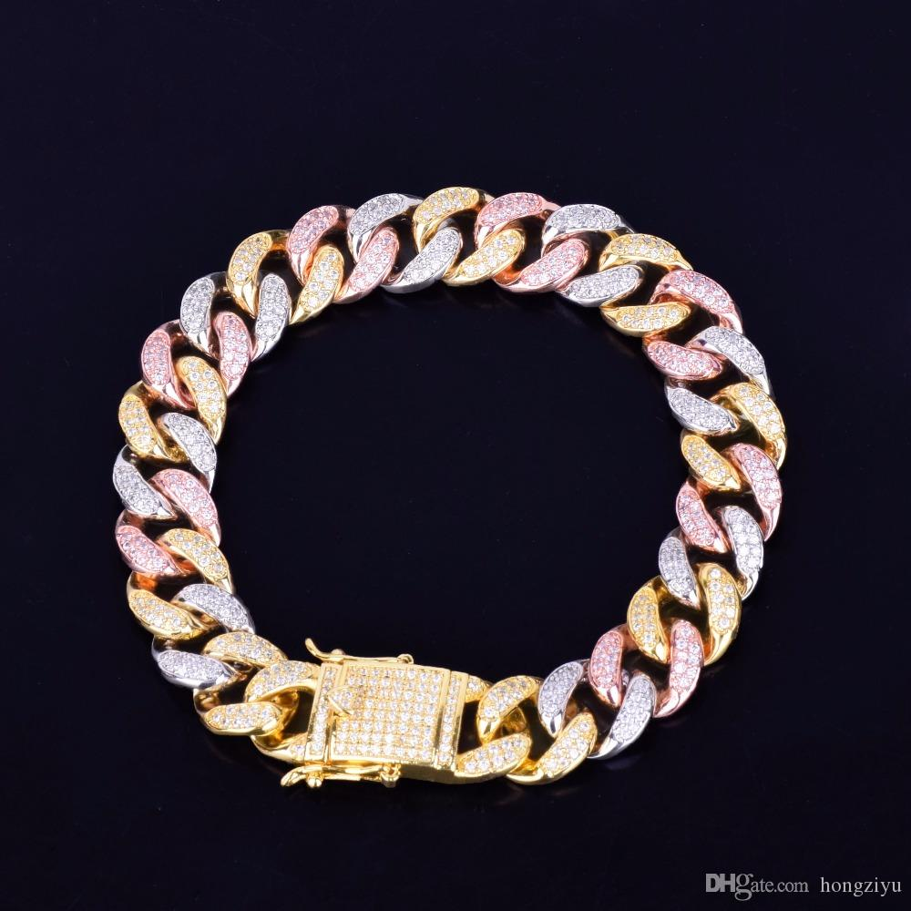 """12MM Mixed Color Cuban Chain Bracelet Men's Hip hop Jewelry Iced Out Zirconia Gold Silver Rose Bracelet 7"""" 8"""""""