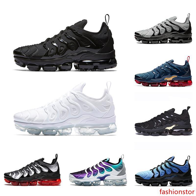 O mais novo TN mais Homens Mulheres Sapatos de corrida tripla uva preta preta Hiper Blue Orange Men ténis Tamanho 36-47