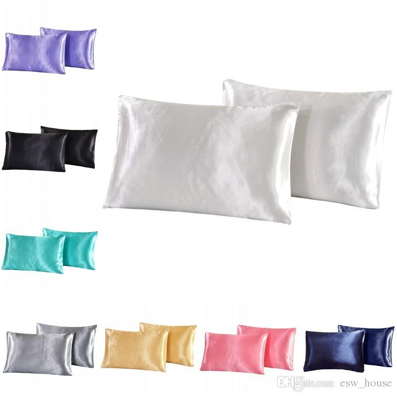 الصلبة اللون محاكاة الحرير كيس المخدة الحرير الحرير غطاء وسادة عيد الميلاد الصلبة اللوازم اللون وسادة القضية الفراش