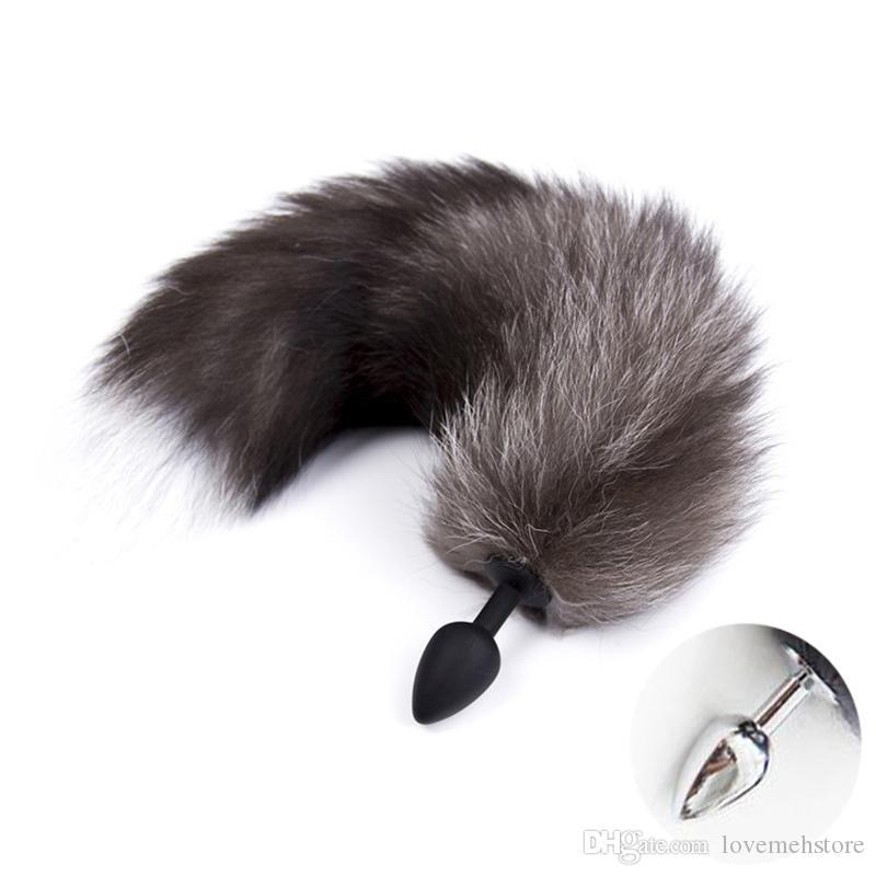 Fetish Fox Tail Length 40CM Head Bunny Rabbit Tail Plug,BDSM Cosplay Animal Pet Tails Anal Butt Plug, Halloween Costume Accessory