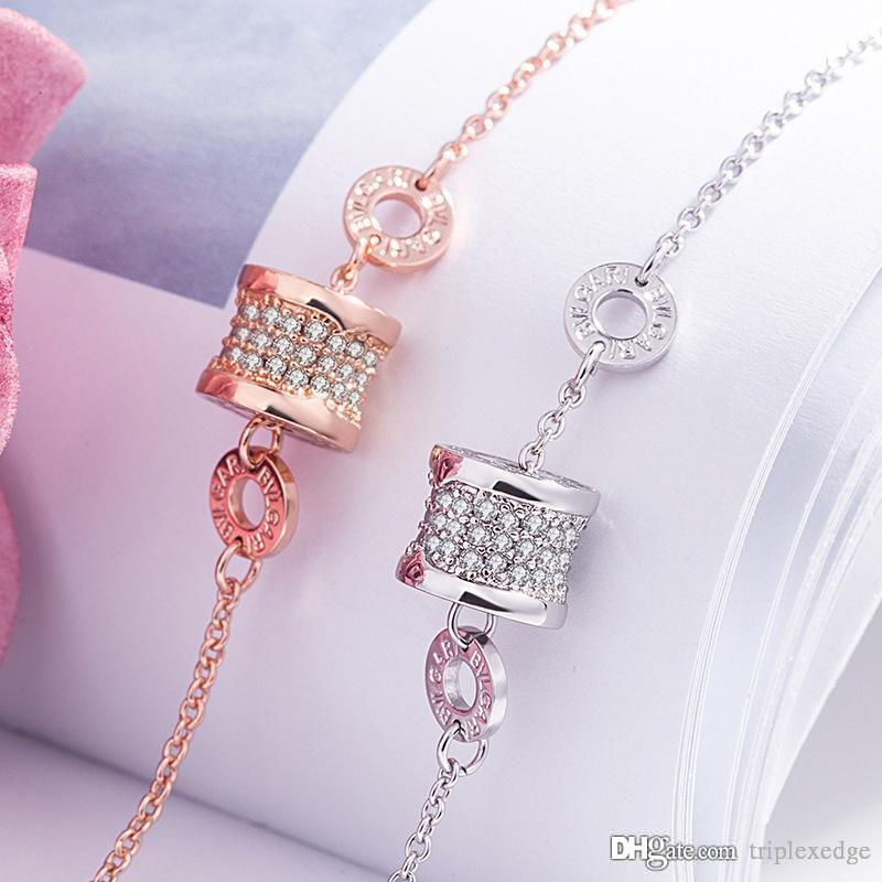 Modische und einfache funkelnde Kristall Charme Armband, plattieren 18 Karat Gold Frau Armband, hochwertiger Edelstahl Schmuck