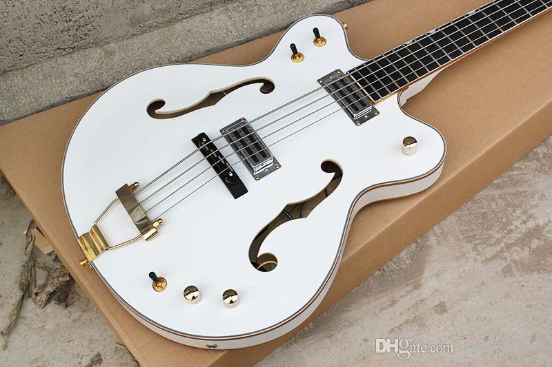 Fabrik benutzerdefinierte OEM 4-saitige weiße E-Bass-Gitarre mit semi-hohlen Körper, Körperbindung, Gold Hardware-Zubehör, persönlicher Service