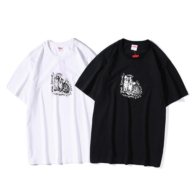 2020 printemps et en été nouveau chat en coton imprimé T-shirt tendance de tissu de soie de coton importé hommes couple occasionnels et les femmes