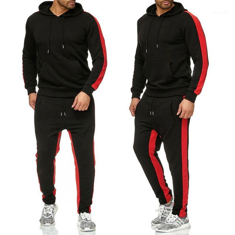 Long Sleeve Hooded Long Pants Mens 2PCS Sets Casual Males Clothing Stripe Panelled Mens Designer Tracksuits Fashion