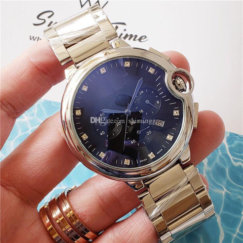 acciaio inox Watch Out del quarzo della vigilanza 2020 nuovo modo degli uomini orologi di lusso di sport del cronografo da polso impermeabile orologi Montre homme Orologio