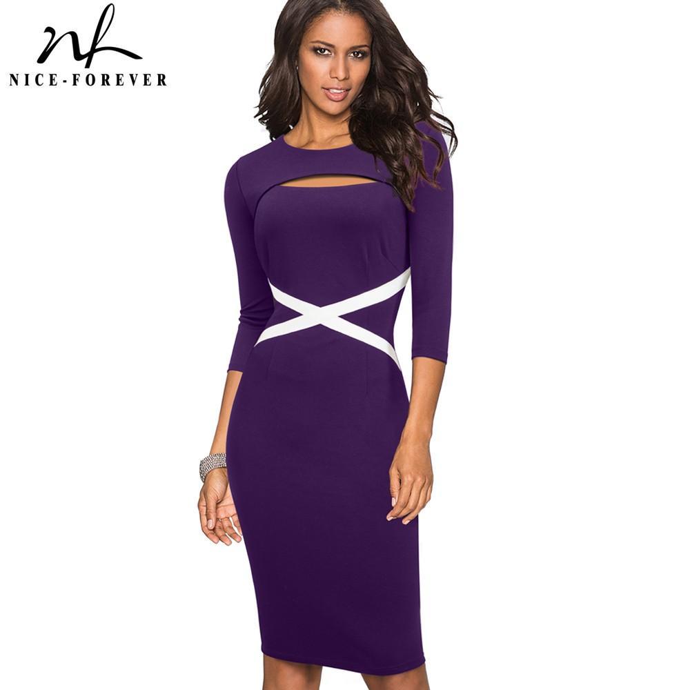 vendita all'ingrosso Vintage elegante contrasto colore patchwork scava fuori lavoro vestidos vestito da ufficio ufficio bodycon donne vestito b490