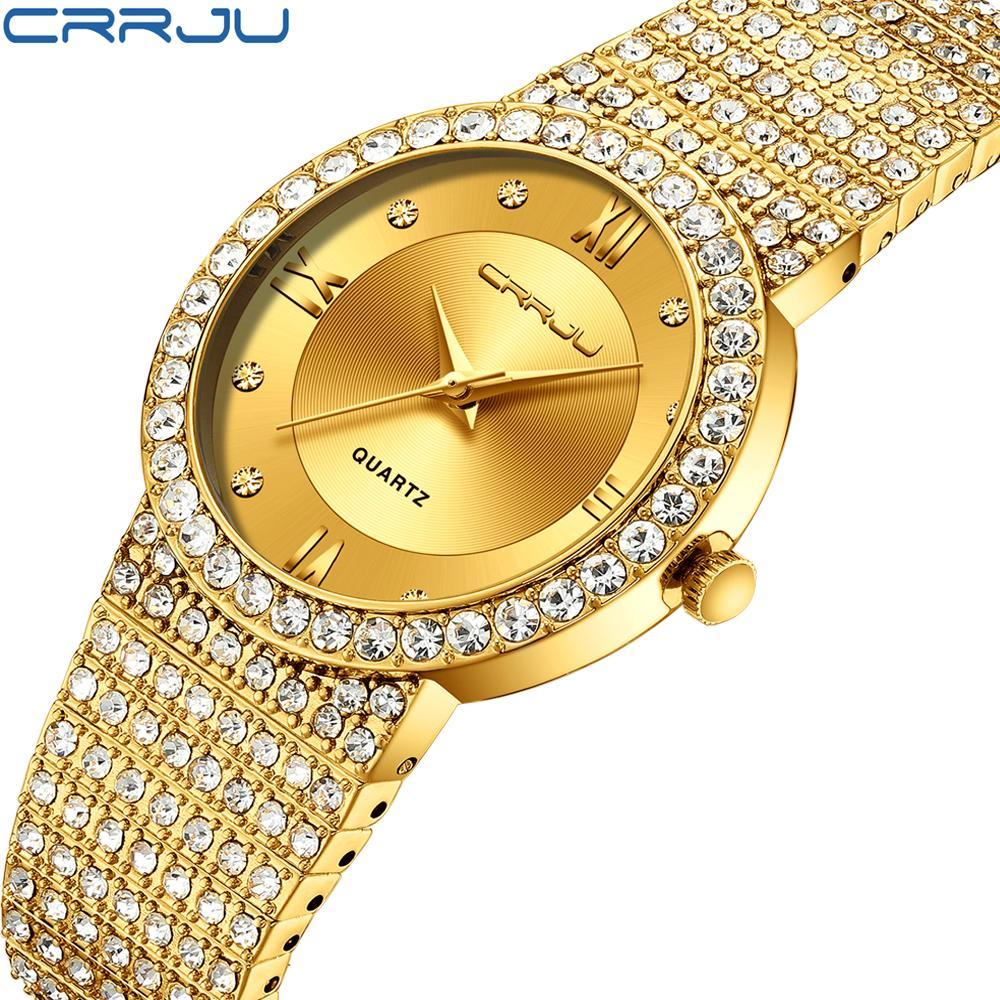 CRRJU Casal relógio Homens Moda Jóias Pulseira Aço Inoxidável Quartz relógios amante Vestido Mulheres relógio de pulso masculino presente Assista
