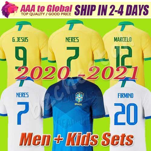 футбол Джерси Top Таиланд NERES Camiseta де Futebol Копа Америка 2020 2021 G.JESUS БРАЗИЛИЯ БРАЗИЛИЯ COUTINHO 20 21 футбола рубашка Мужчина KIDS SET