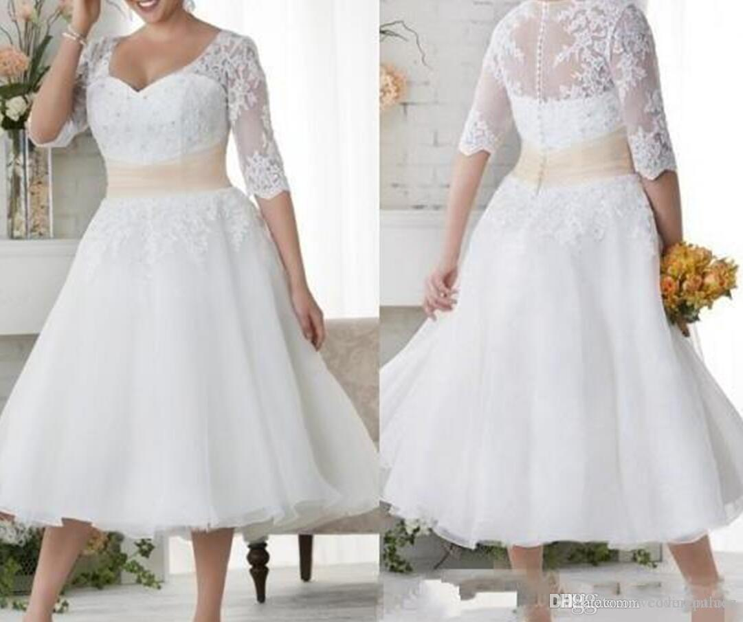 Discount 2019 New Tea Length Wedding Dresses Half Sleeves Plus Size Wedding  Gowns White Lace Covered Beach Dress A Line Princess Wedding Dresses A ...