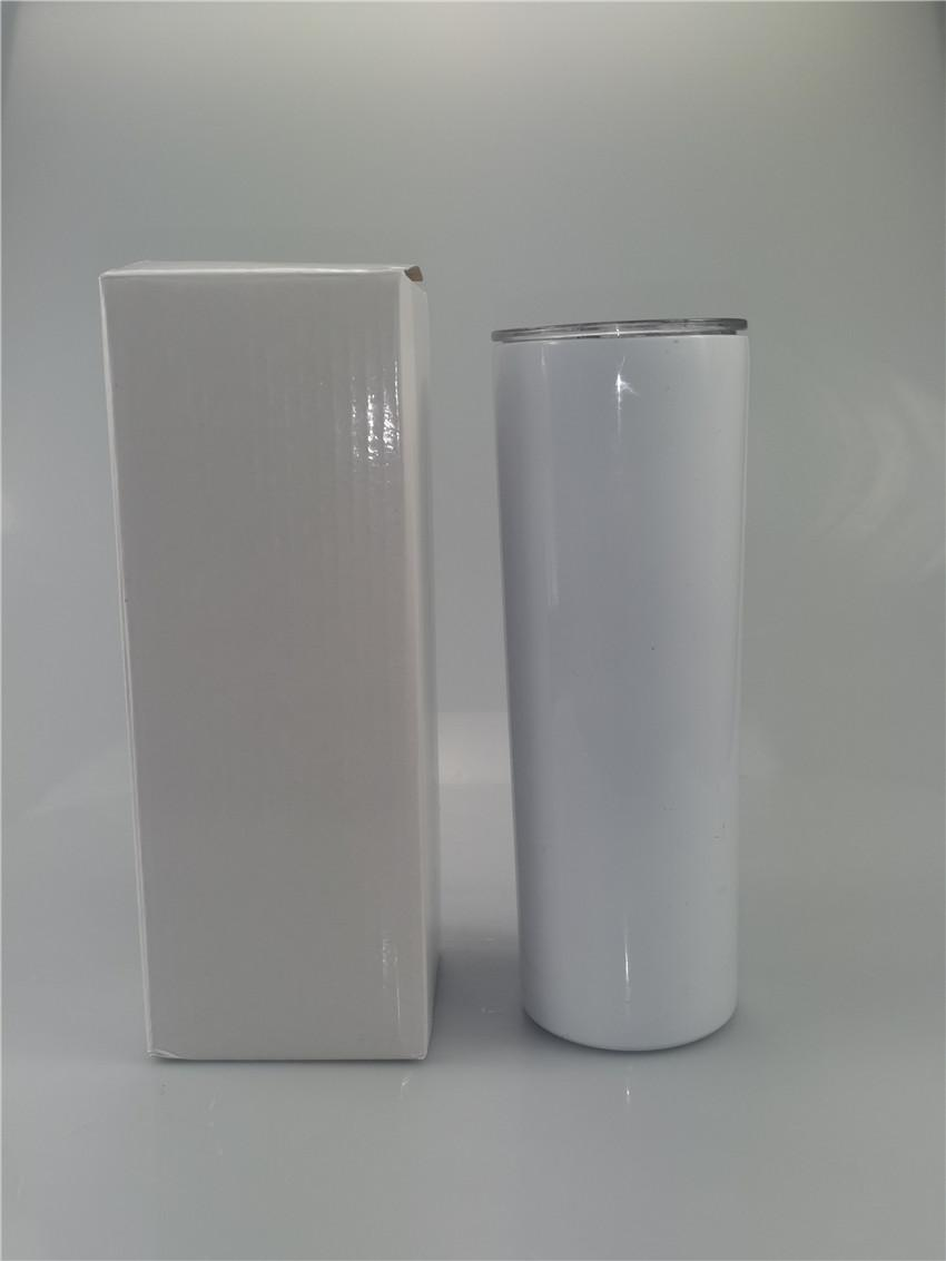PROMOÇÃO 20 onças sublimação magro Tumbler em branco de aço inoxidável Tumbler DIY Cups retas isolados a vácuo 600ml Car Tumbler Canecas A05