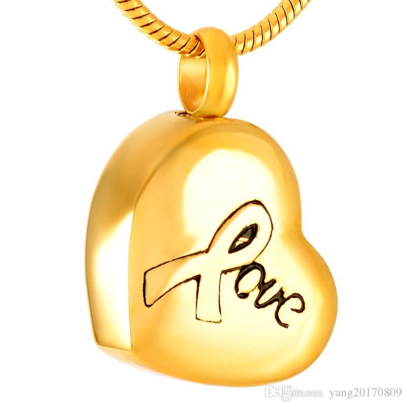IJD9308 Stainless Steel Urna Colar Coração de Ouro comemorativa forma do amor para Ashes urna de cremação lembranças Pendant Jewelry