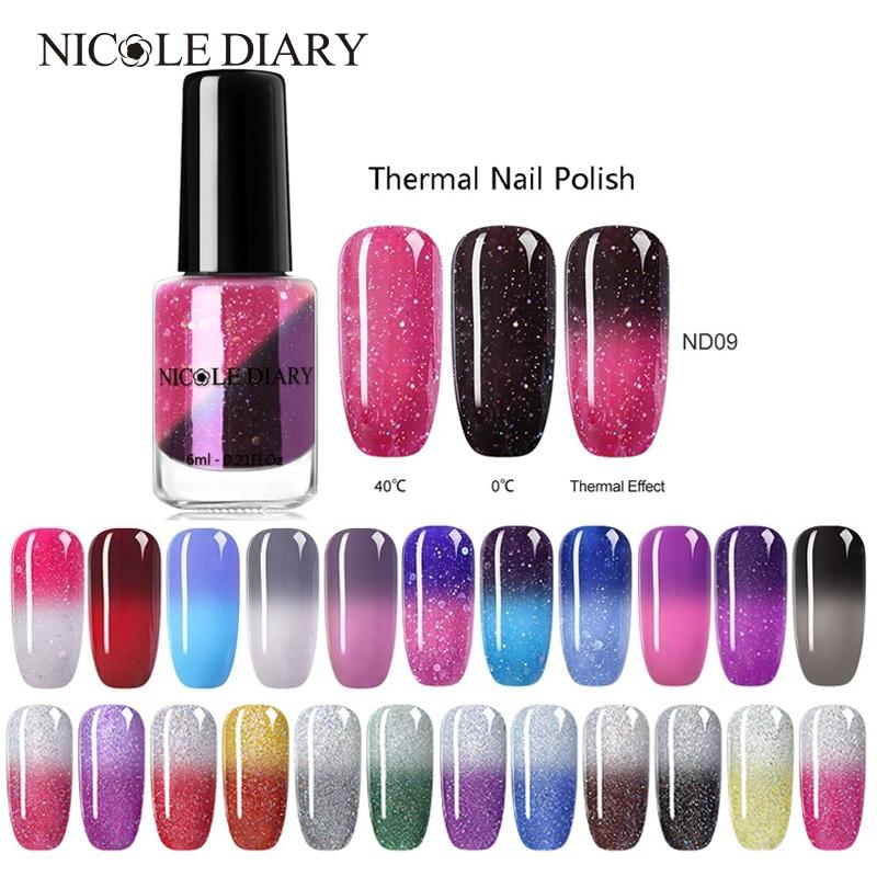 NICOLE DIARY Thermal Nail Polish Glitter Temperature Color Changing Water-based Varnish Shinny Shimmer Peel Off Nail Lacquer