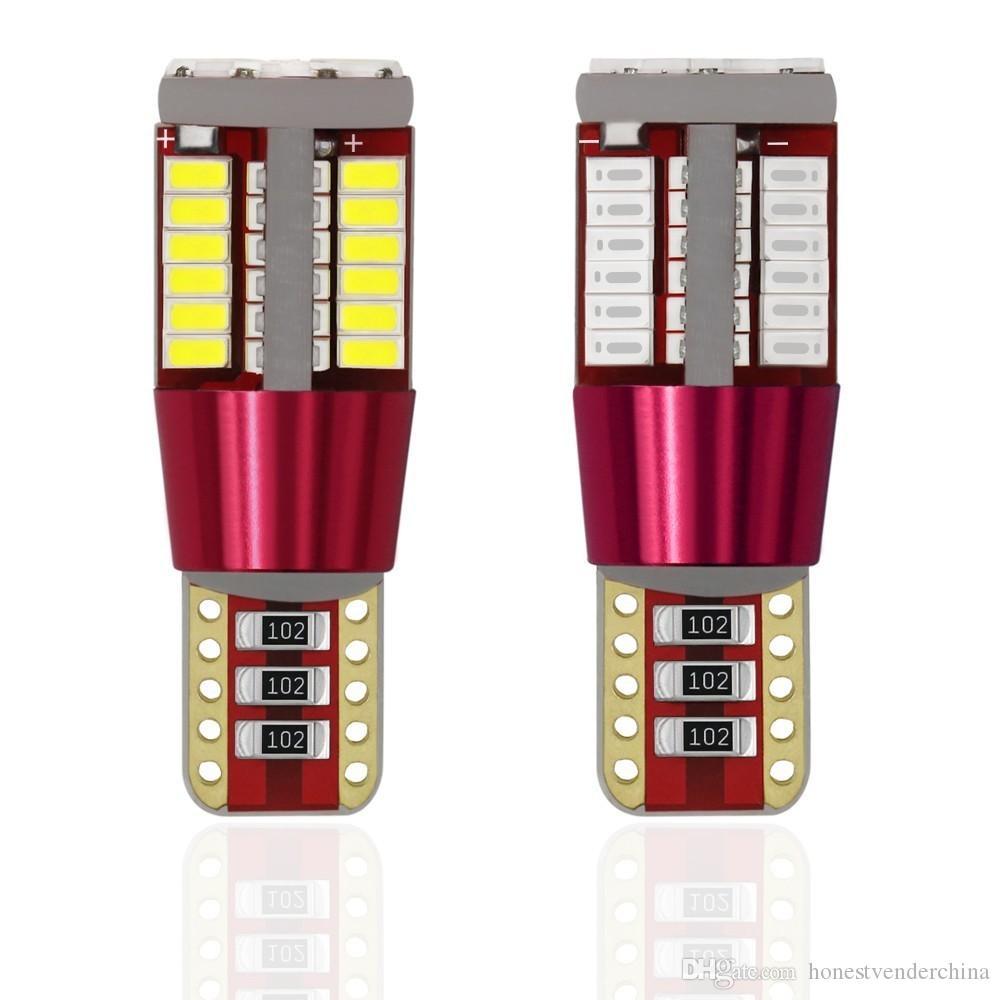 20X 12V T10 W5W 194 오류 무료 Canbus 자동차 전구 LED 조명 인테리어지도 읽기 문 번호판 자동 램프 4014 SMD 57 칩
