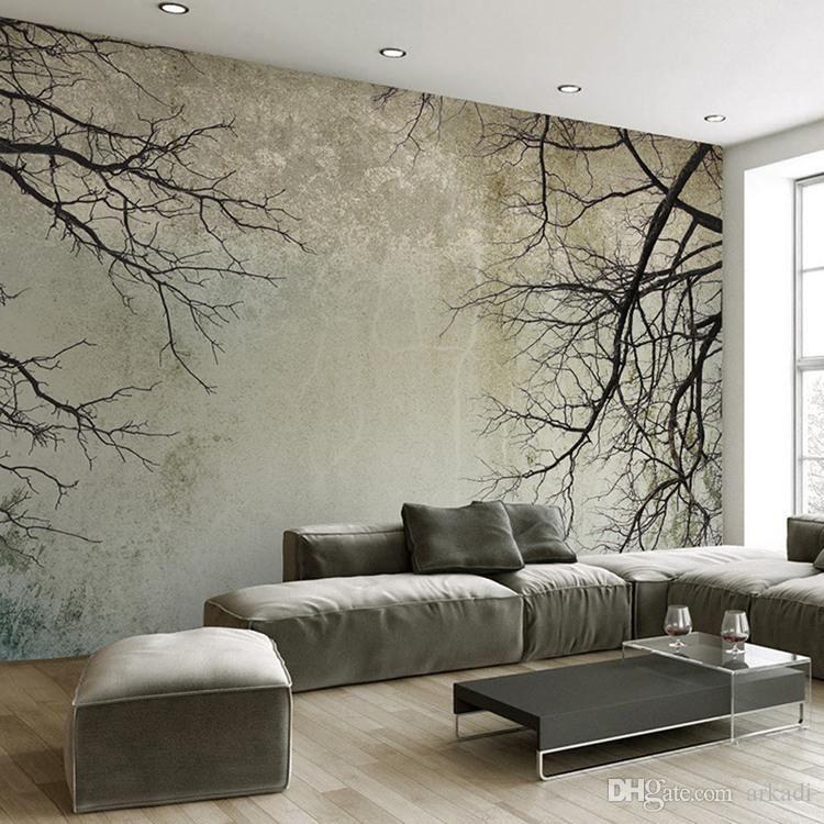 Benutzerdefinierte 3D-Fototapete Kreative Abstrakt Home Decor Nordic Stil Baum-Zweig Himmel Papel De Parede Desktop-Mural Tapete 3D