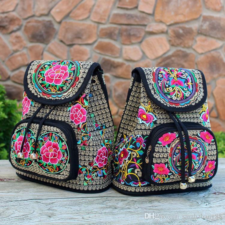 Vintage Embroidery Ethnic Backpack Travel Handbag Ethnic Bookbag Shoulder Backpack Hiking Travel Daypack Casual Bags