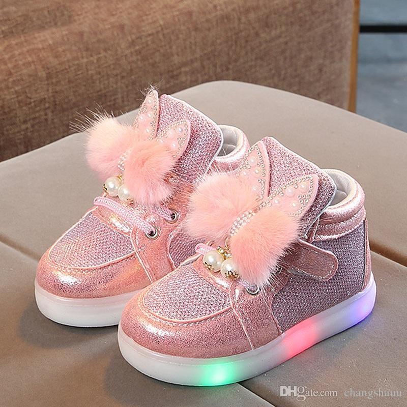 Детские светодиодные кроссовки девушки светящиеся Детские туфли для девочек светящиеся кроссовки для девочек Детские Детские туфли с подсветкой подошвы