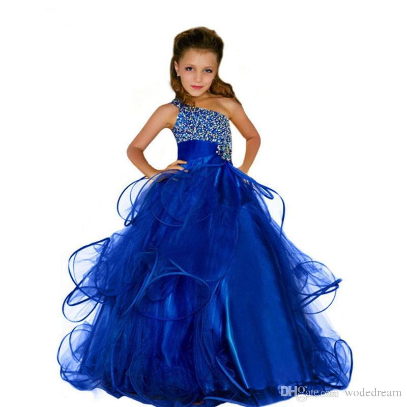 In Stock Szie4-14 Ivory Lace Up Flower Girl Dress Formal Pageant Prom Ball Gowns