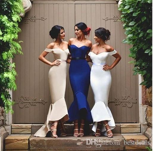Vestido de dama de honor de la sirena elegante 2020 barato largo del hombro de los vestidos de fiesta de satén altos de alto hombro personalizado HI-LO Beach Beach Damas de honor