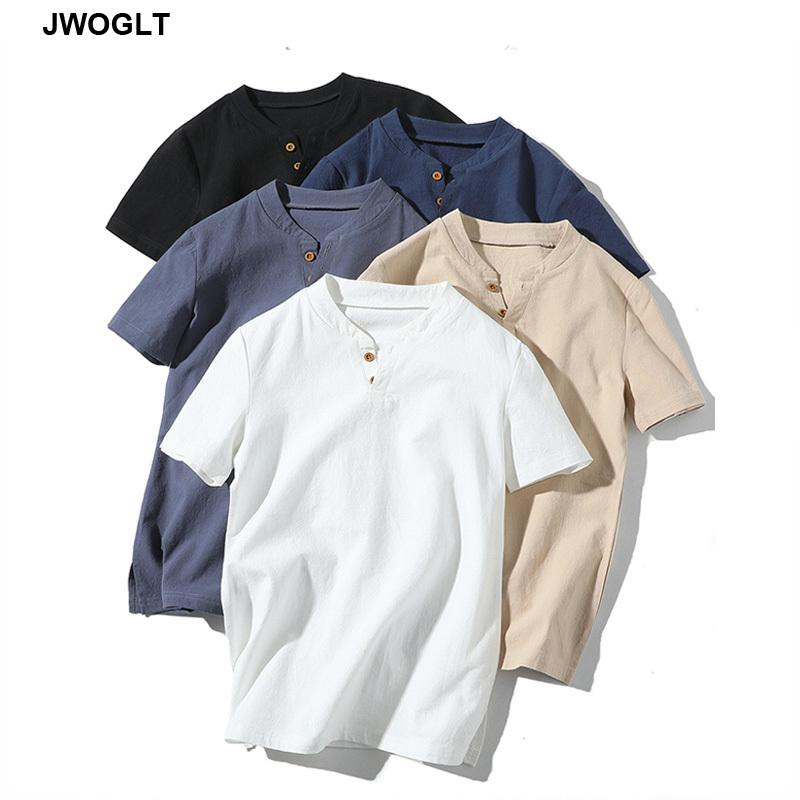 Camisetas para hombres 2021 Verano Moda coreana Algodón para hombre T Shirts Casual Manga corta con cuello en V Slim Fit Black Blanco Khaki Harajuku Tees 4xl 5xl