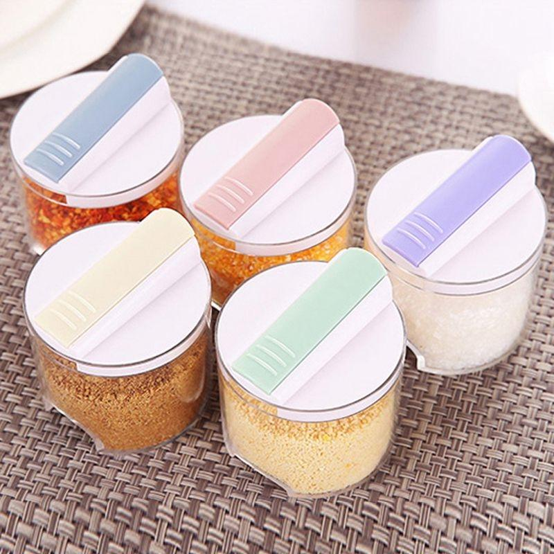 5pcs/Set Creative Transparent Seasoning Cans Kitchen Spice Rack Condiment Kitchen Tools Kitchen, Dining & Bar Bottles Pepper Shakers Box