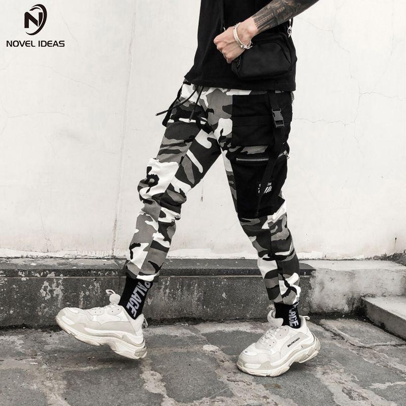 Novel Ideas Color Camo Cargo Mens Fashion Baggy Tactical Trouser Hip Hop Casual Cotton Multi Pockets Pants Streetwear SH190816