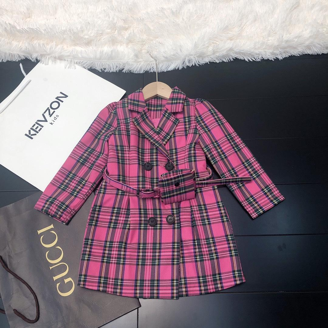 Девушки ветровка детям дизайнер одежды осень нерегулярный плед долго ветровка хлопка материала куртки