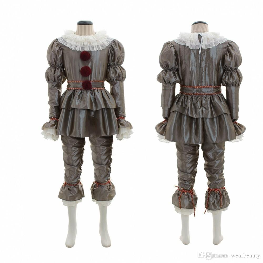 Mens Women Adult Child Kids Halloween CostumesHorror Movie Clown Back Pennywise Suit Halloween Clothes Cosplay Horror Ghost Tricky
