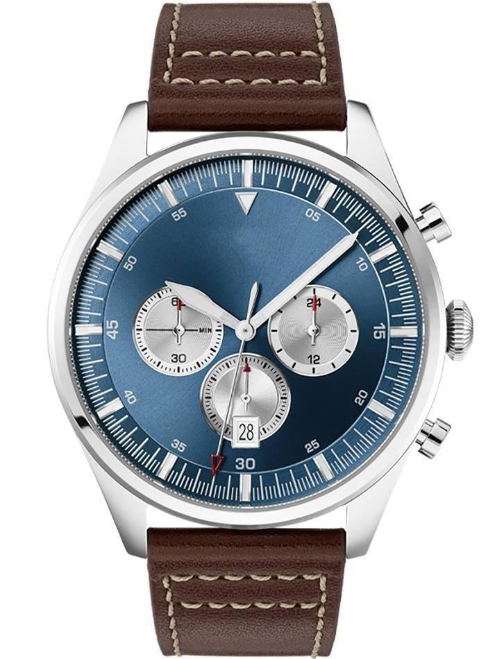 2019 Classic Blue Dial Uhr für Männer analoge Quarzuhr mit Lederband 1513709