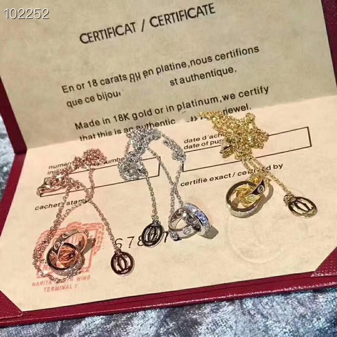 Luxe Classique Designer S925 Argent Sterling vis Forever Love Double Circle Round collier pendentif pour les femmes Bijoux