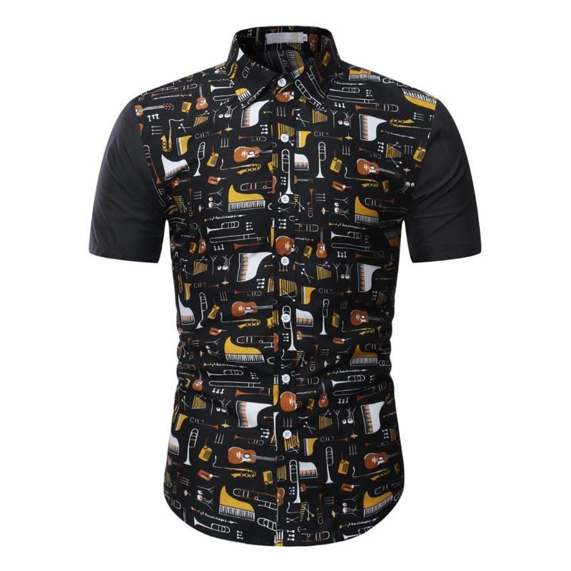 Mens T Shirt Men Hawaiian Short Sleeve Button Down Casual Slim Shirt Tropical Printed Blouse