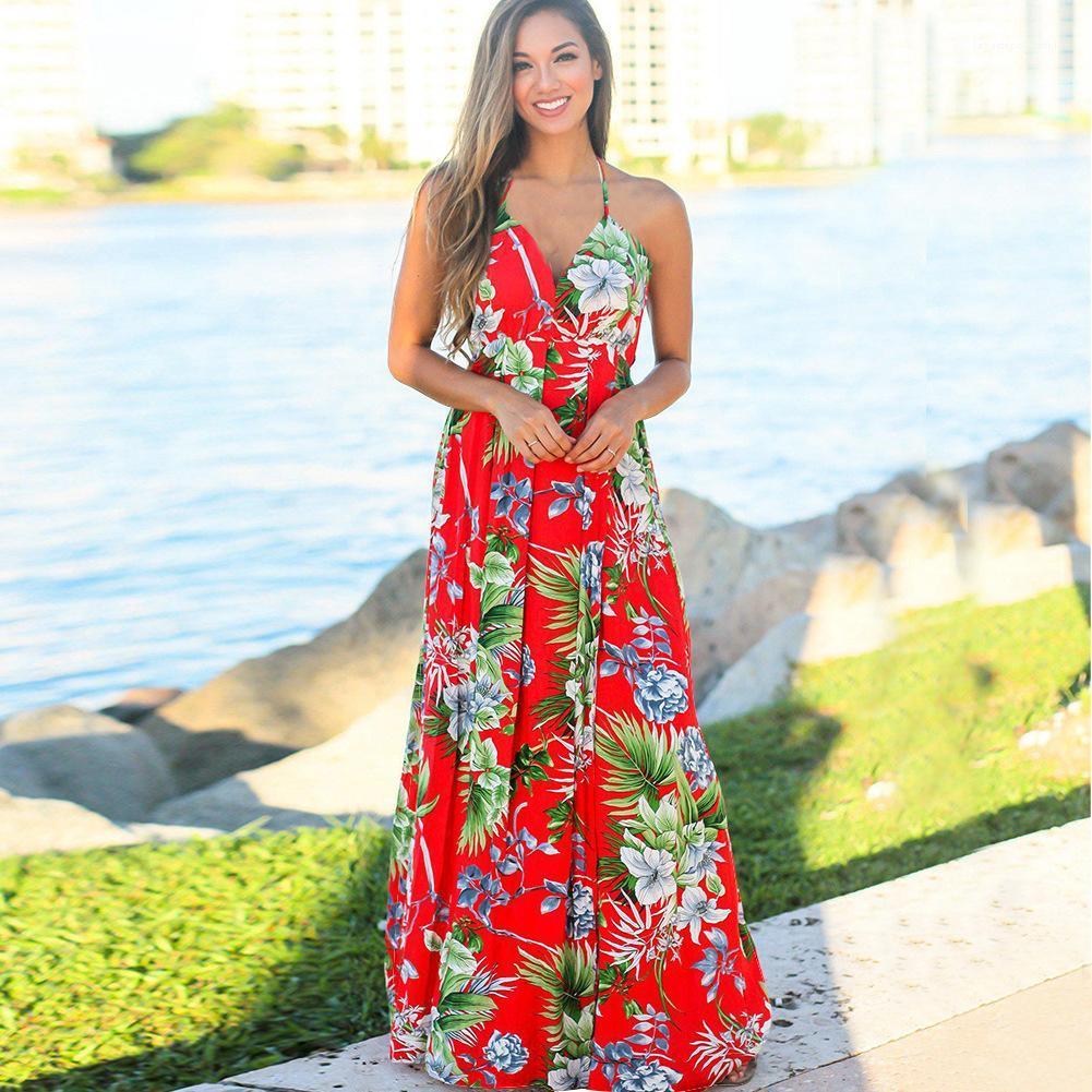 Cruz sin respaldo vestidos para mujer del tirante de espagueti floral de la playa vestido de cuello V cómodo suave ocasional de las señoras de los vestidos de moda