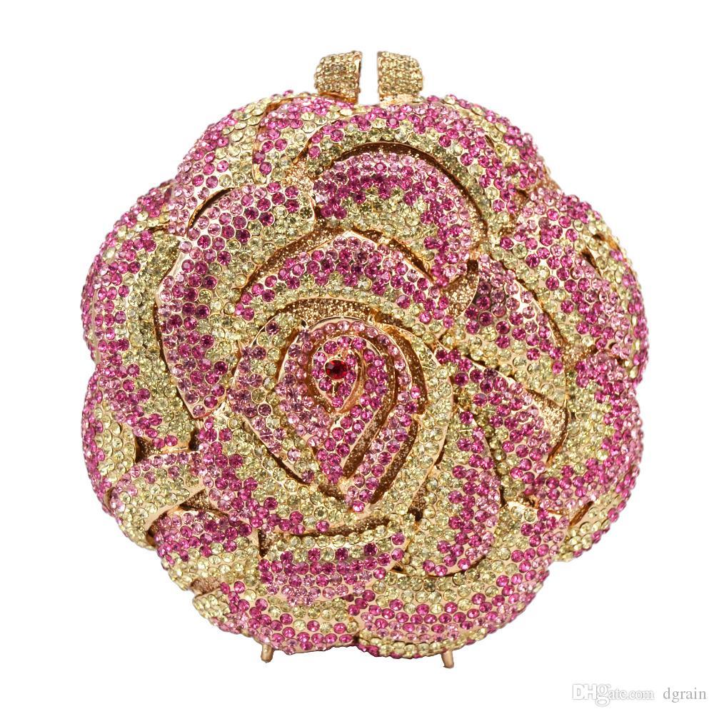Dgrain Rose Blume geformt Kristall Clutch Freie Verschiffen-Diamant bunte handgemachte Abend-Beutel-Geldbeutel-Handtaschen-Metallkupplungen Geldbeutel