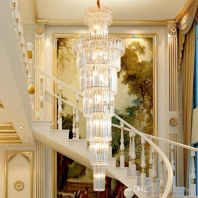 New design modern luxury gold pendant crystal chandelier lighting creative long chandeliers crystal led lamp for hotel hall home stairs