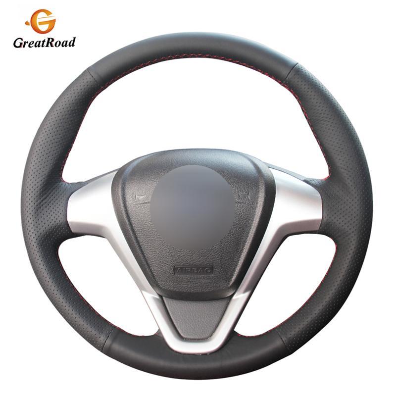 cousu main noir PU cuir artificiel volant de voiture Couvre Wrap Fiesta 2008-2017 EcoSport 2014-2017