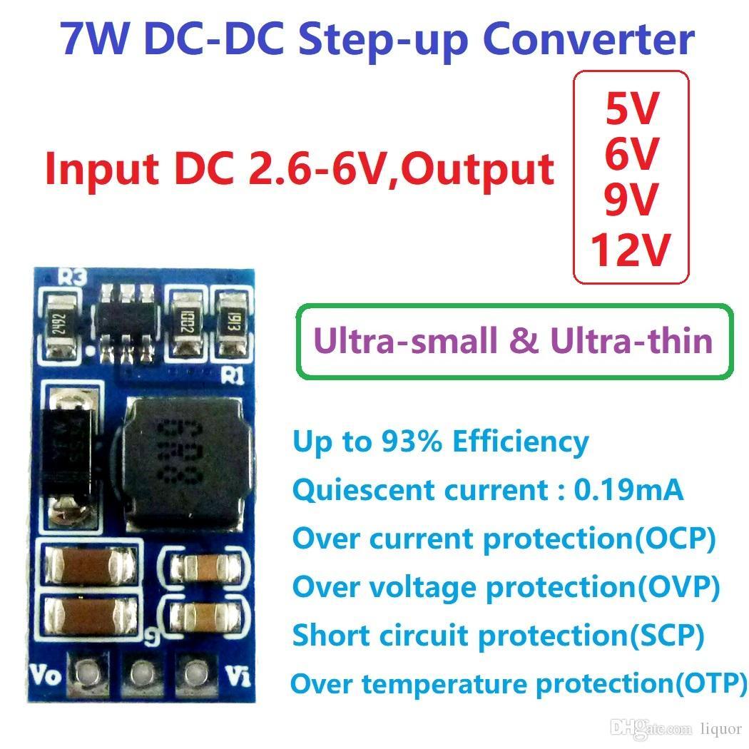 LED 모터에 대한 ND0412SA 7W 미니 DC DC 부스트 스텝 업 컨버터 2.6-5.5V 5V 6V 9V 12V로 전압 레귤레이터 모듈