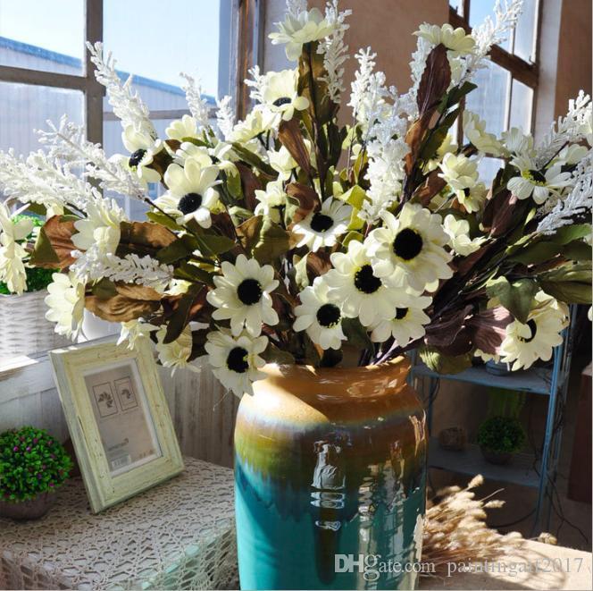 Simulation Marguerite tournesol Bouquet européenne jolie fête de mariage Mini pivoine soie Fleur Artificielle Mariée Bouquet pour la Maison De Mariage Décoration