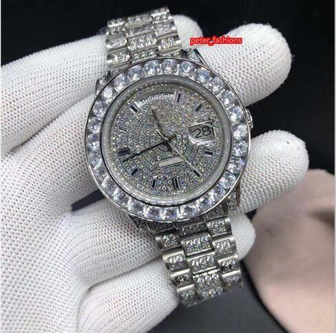 Feine Herren-automatische mechanische Uhren Silber Diamant-Mode-Uhren Multi-Spezifikationen hochwertige Explosion Modelle heiße Uhren wählen