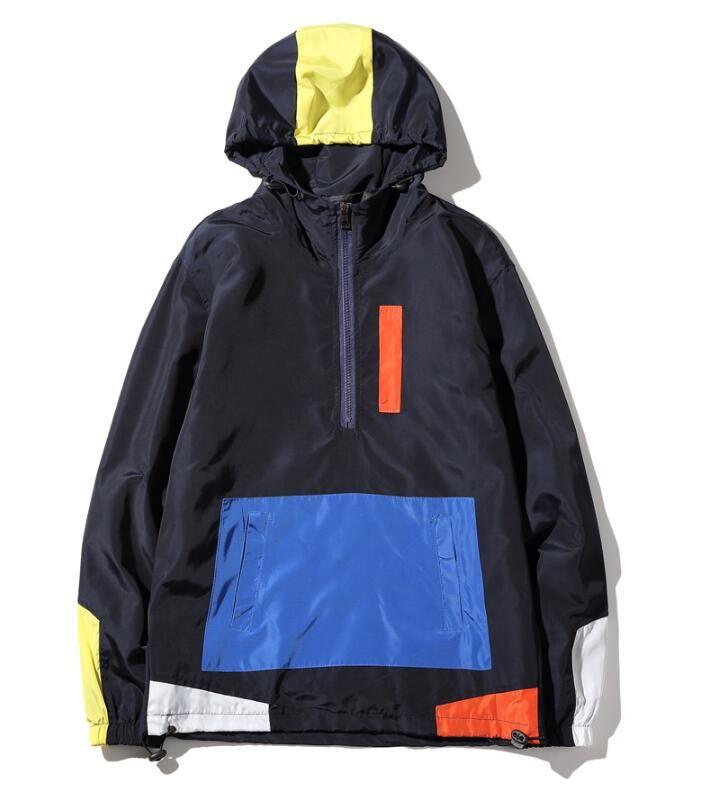 Fashion-jackets HOODY PATCHWORK anorak jacket windbreaker hip hop college student wind breaker jaqueta masculina