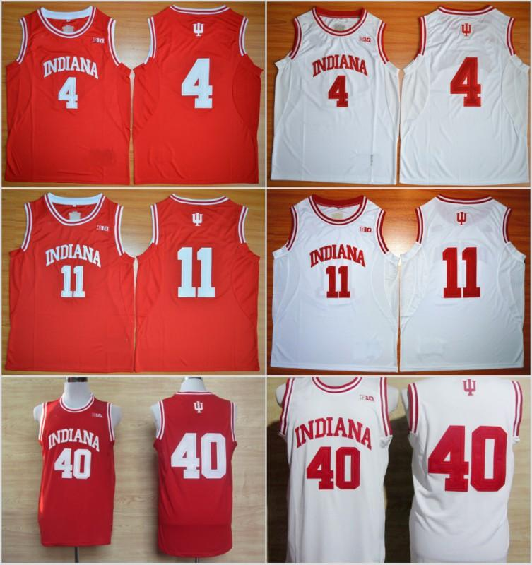 Indiana Hoosiers College Basketball Jersey 11 Isiah Thomas Jerseys 40 Cody Zeller 4 Victor Oladipo Jersey New Material Red White Uniform