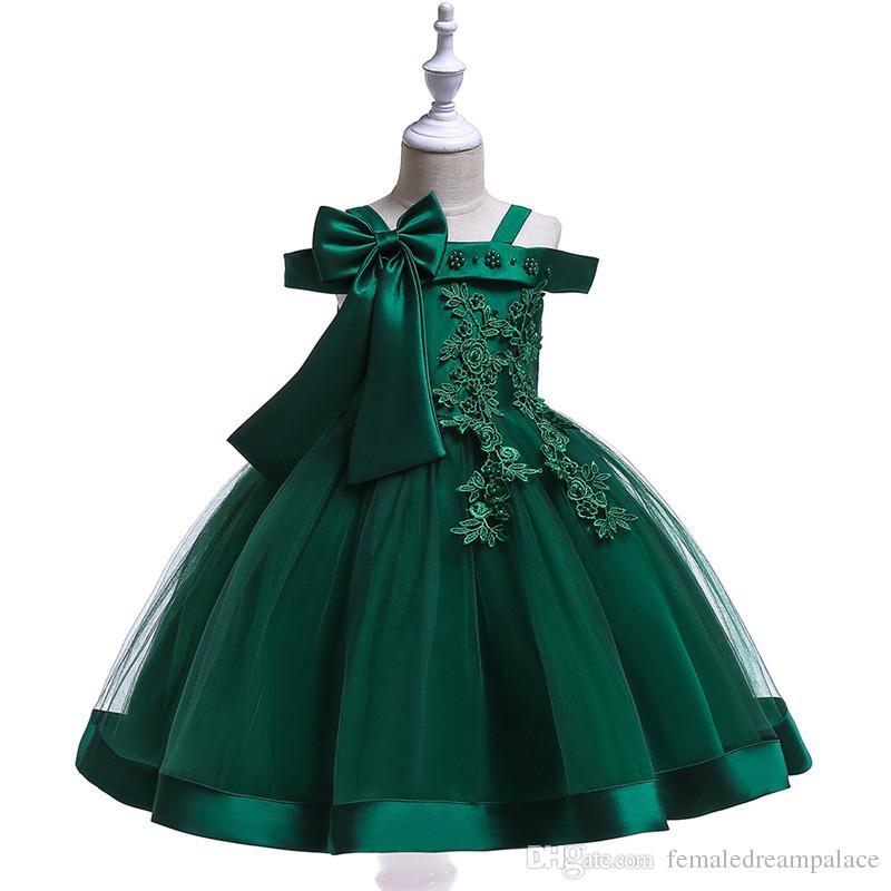 Compre 2018 Perlas Vestidos De Flores De Encaje Para Niña Vestidos De Concurso De Organza Verde Para Bodas Longitud Del Tobillo Fuera Del Hombro