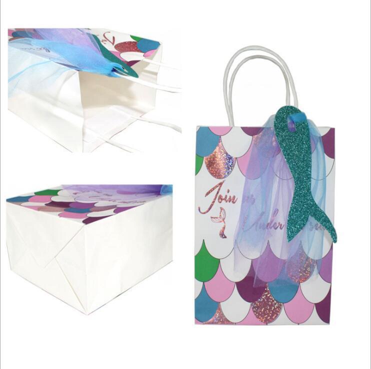 12pcs / porción de la sirena bolsas de regalo Bolsa de Glitter Tratar las bolsas de papel para niños niñas sirena fiesta de cumpleaños temática