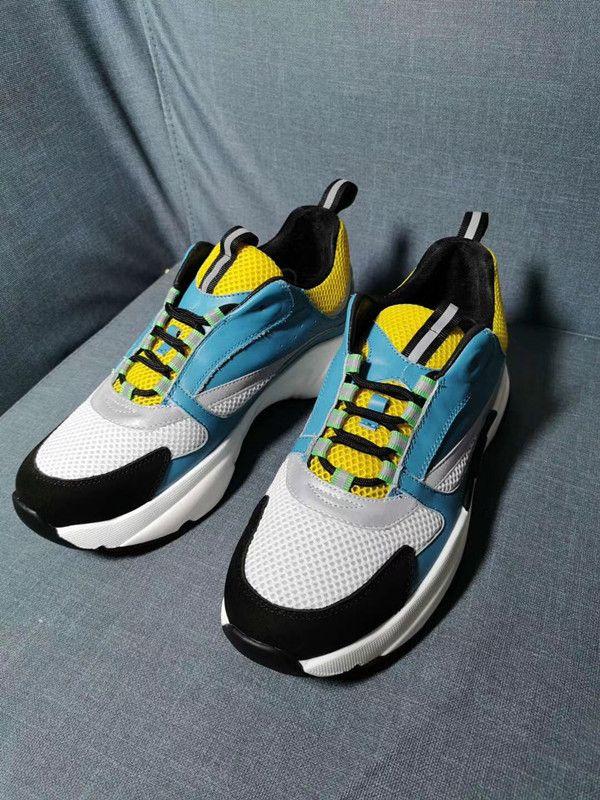 Sıcak Tasarımcı 2019-2020 Yeni Erkekler Tuval Ve Dana derisi Eğitmenler Moda Yeni Sneakers B22 Trainer Teknik Örme Ayakkabı jh0521