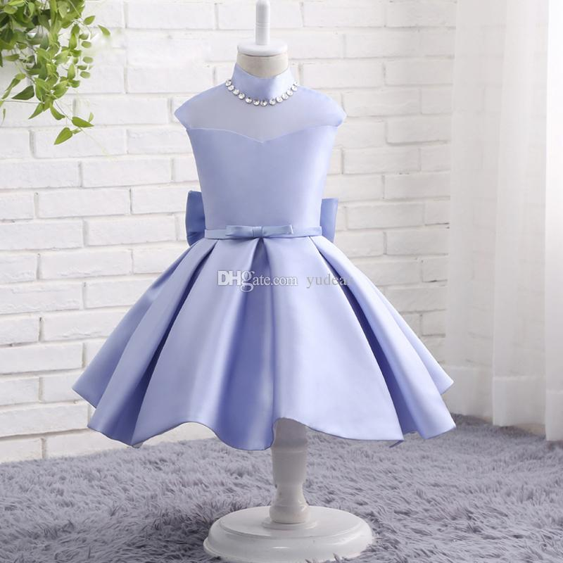 2019 Fashion Design High Collar Sheer Neck Flower Girls' Dresses A-line Light Blue Baby Girls Wedding Dresses Back Bows Illusion Prom Gowns