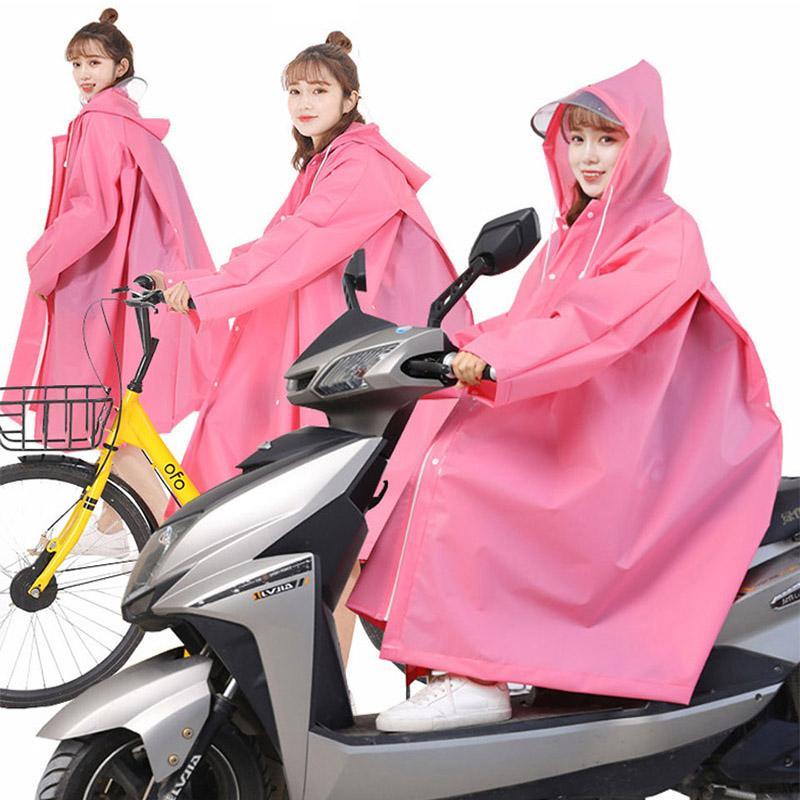 EVA Long Women Raincoat For Thickened Waterproof Rainwear Motorcycle Bicycle Riding Poncho With Hooded Rainproof Raincoat Suit