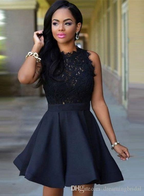 Черные кружева короткие платья домокомирования без рукавов жемчужины шеи коктейль платья для платьев на заказ на заказ платья выпускного вечера